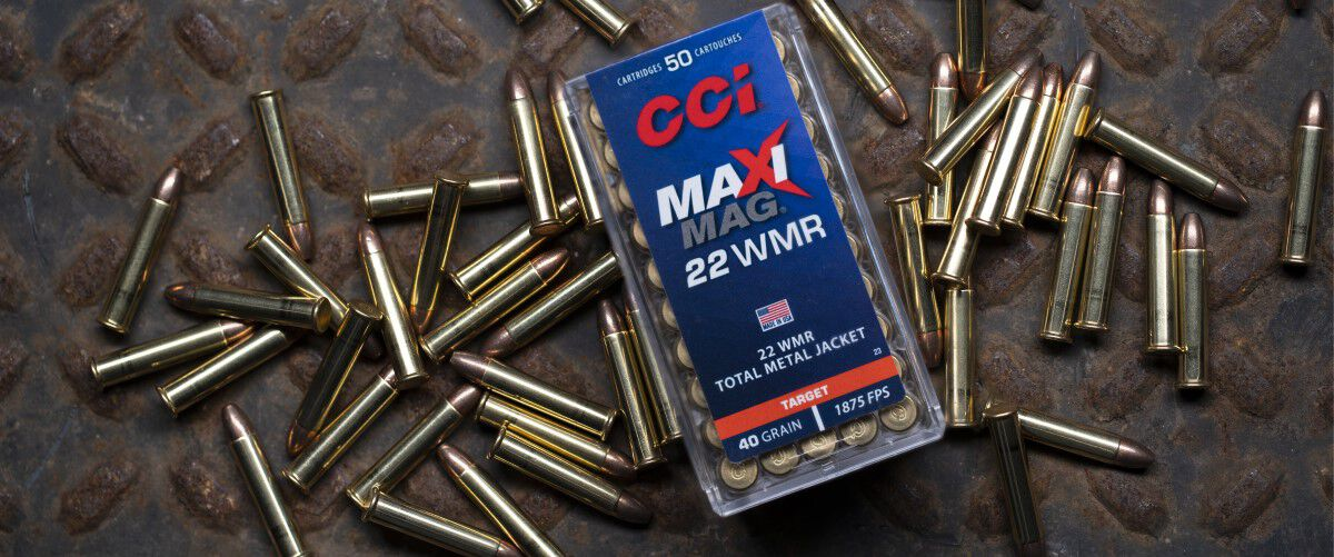 CCI Maxi Mag 22 WMR Packaging on top of Maxi Mag cartridges