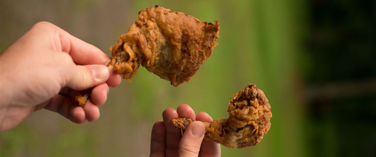 Fried rabbit and squirrel